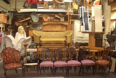Second hand furniture in a storage room