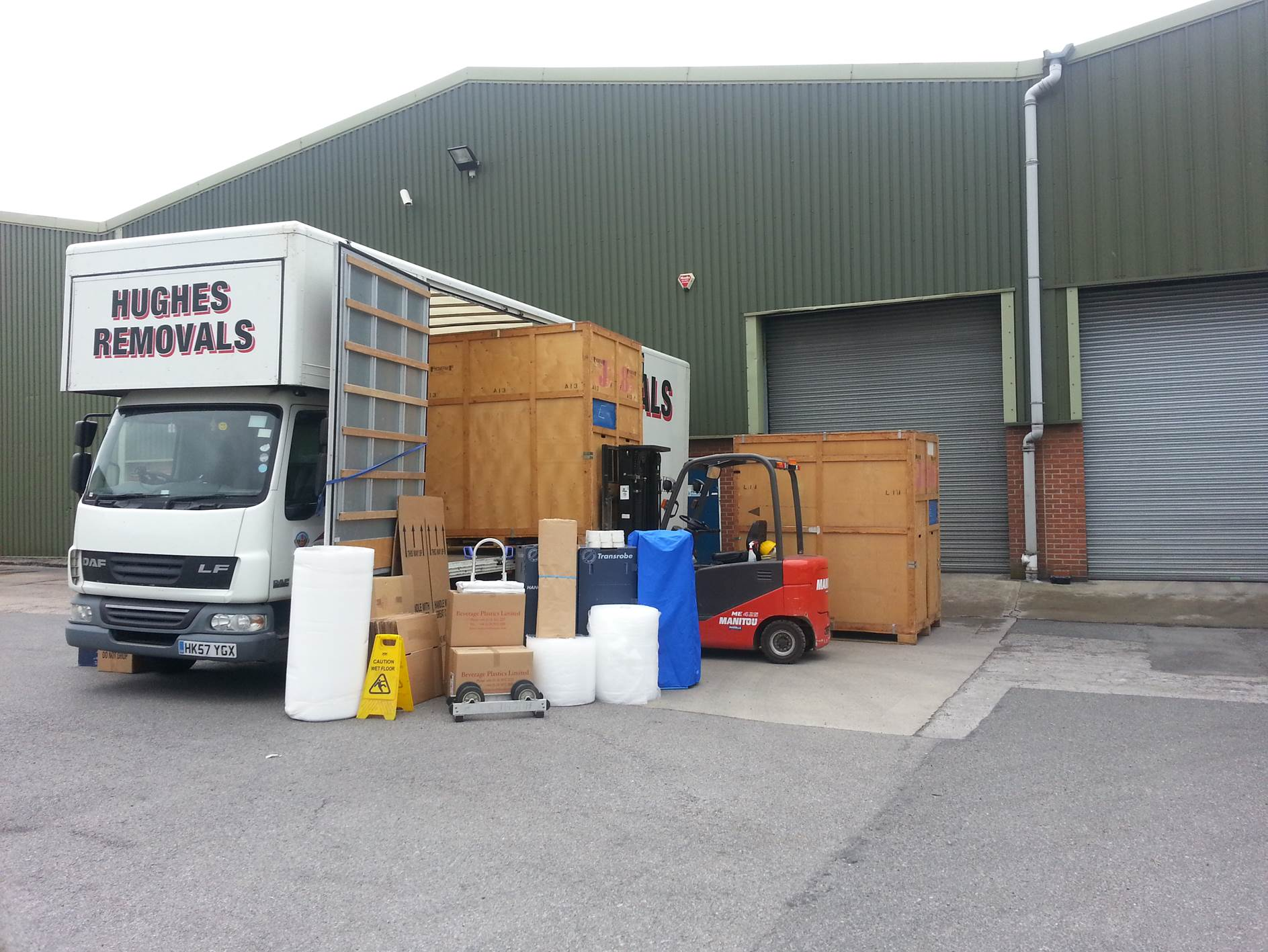 Hughes Removals van at storage facility